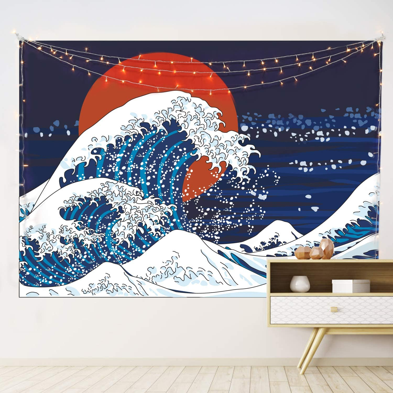 HOTMIR Wall Tapestry Hanging - Great Wave Tapestry Ocean as Wall Art and Home Decor for Bedroom, Living Room, Dorm Decor (Blue & Red, 51.2x59.1 Inches)
