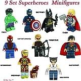 BAYSHORELLP Super Heroes Figures, 9 Set Super Heroes Marvel & DC Avengers Mini Figures include Batman, Spiderman, Ironman, Thor, Superman, Wolverine, Captain America, Hawkeye, and The Hulk. Mini Figures Toys