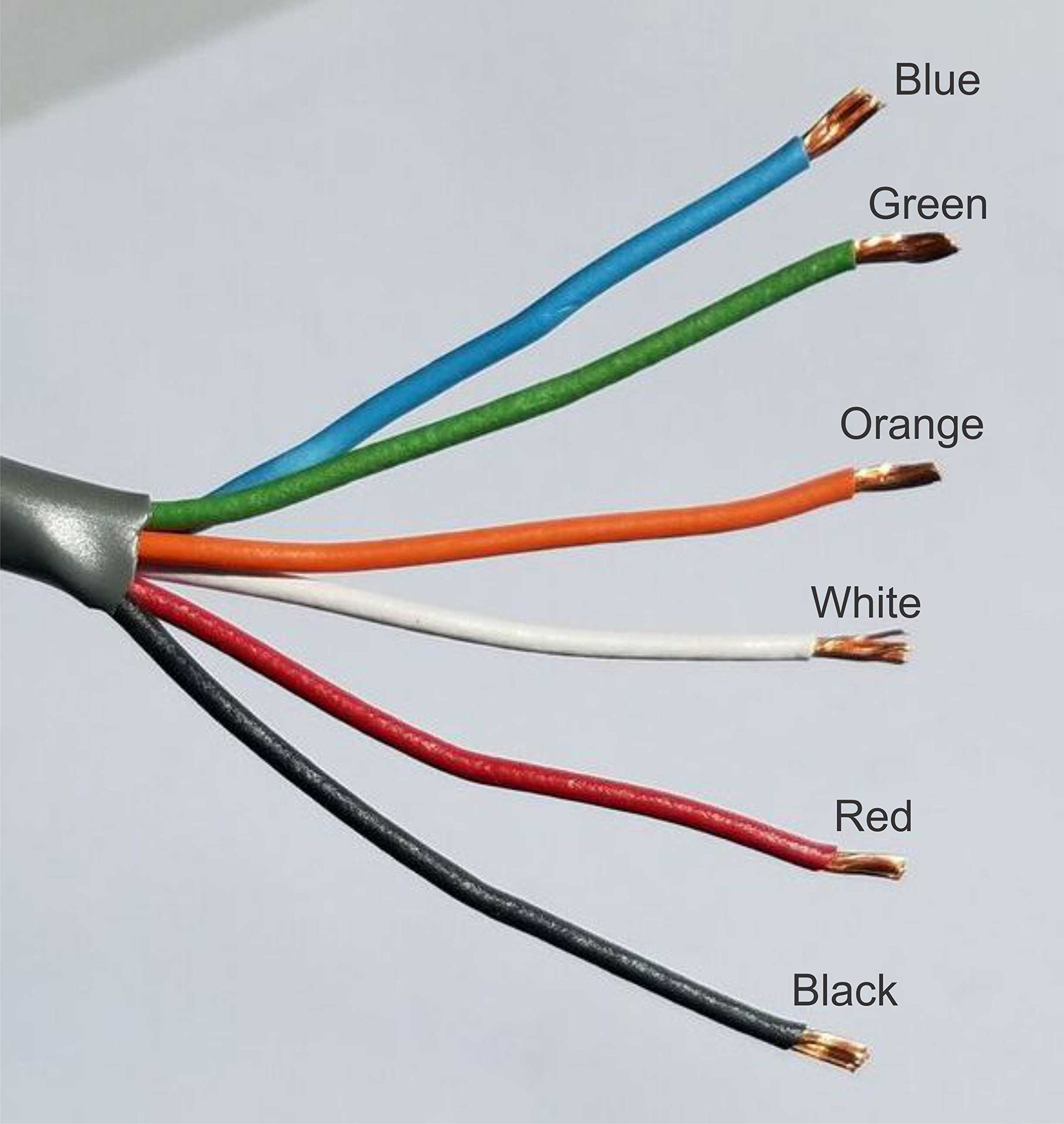 18ga wires in a 6-Conductor, stranded cable with grey PVC jacket, class 2 approved for low voltage applications (20ft) by Oretronix (Image #2)