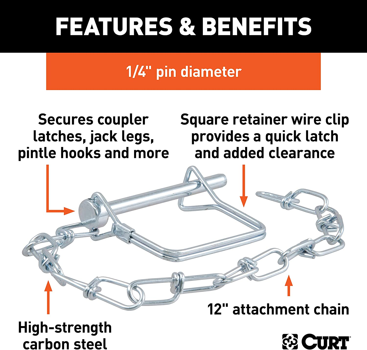 1//4-Inch Diameter x 2-3//4-Inch Long CURT 25013 Trailer Coupler Pin with 12-Inch Chain