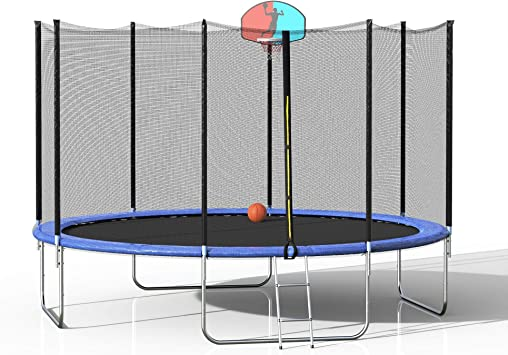 Spring Pad Ladder Combo Bounce Jump Trampolines Outdoor Exercise MAFOROB 12Ft Trampoline for Kids Adults with Safety Enclosure Net