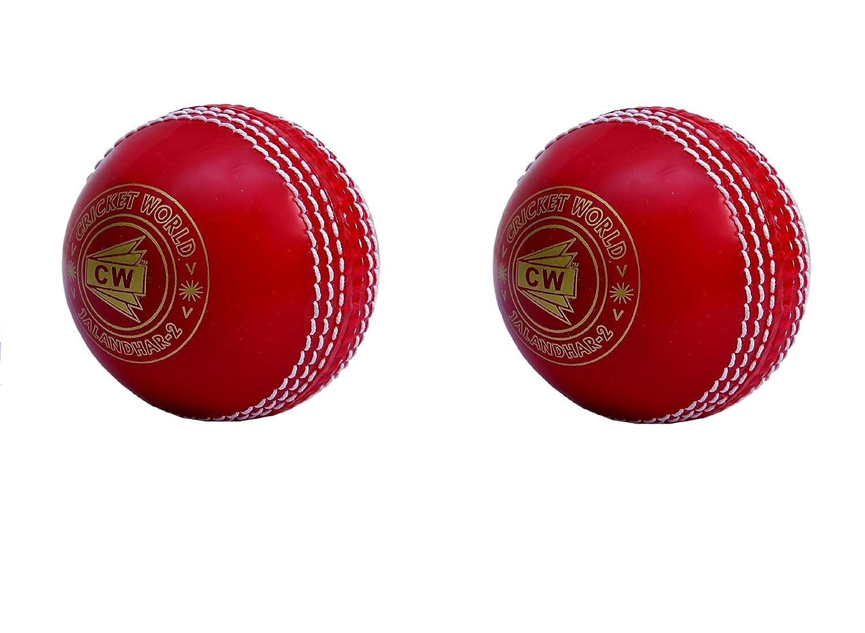 CW Lot de 2Spin Poly tous les sports Rouge Balle de cricket en PVC Souple adapté pour General et Pratiquer de formation, Coaching Cricket World