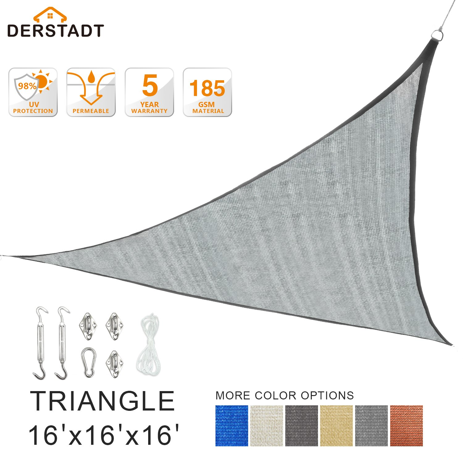 Derstadt 16' x 16' x 16' Triangle 98% UV Block Sun Shade Sail with Stainless Steel Hardware Kit, Top Outdoor Patio Canopy Backyard Shelter (5 Years Warranty, 185G HDPE, 24.6'PE Rope)(Silvery)