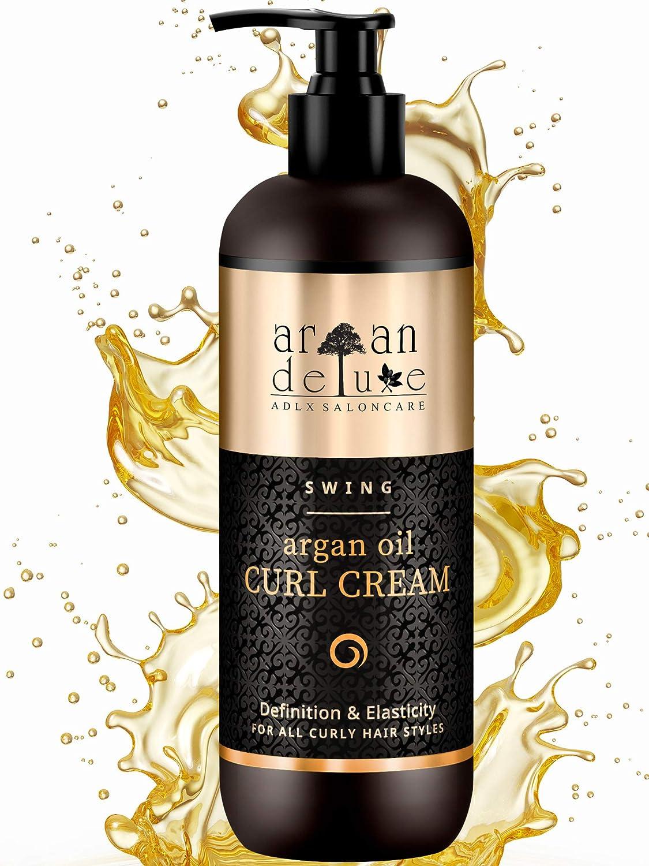 Argan Deluxe Crema de aceite de argán definidora de rizos con acabado de peluquería 300 ml - MÁS CONTENIDO - Altamente hidratante, para un cuidado ...