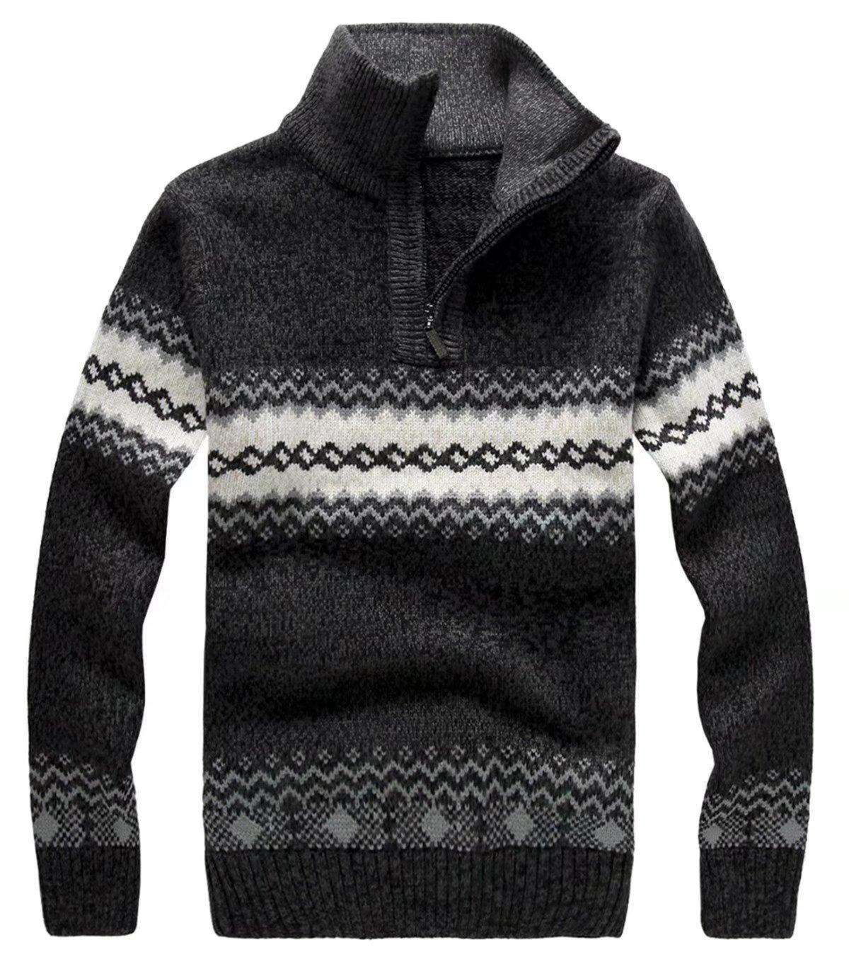 EMAOR Mens Quarter-zip Long Sleeve Jacquard Knit Sweater Pullover