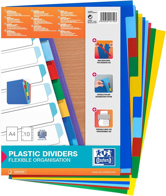 Separadores de plástico Oxford. 12 pestañas y 6 colores. A4+.