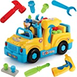 Take Apart Toy Truck Assembly Kit - Battery Operated Bump and Go Action Tool Truck with Functional Power Drill | Removable Wheels | Flashing Lights | Open Back Storage | Music | On Off Switch