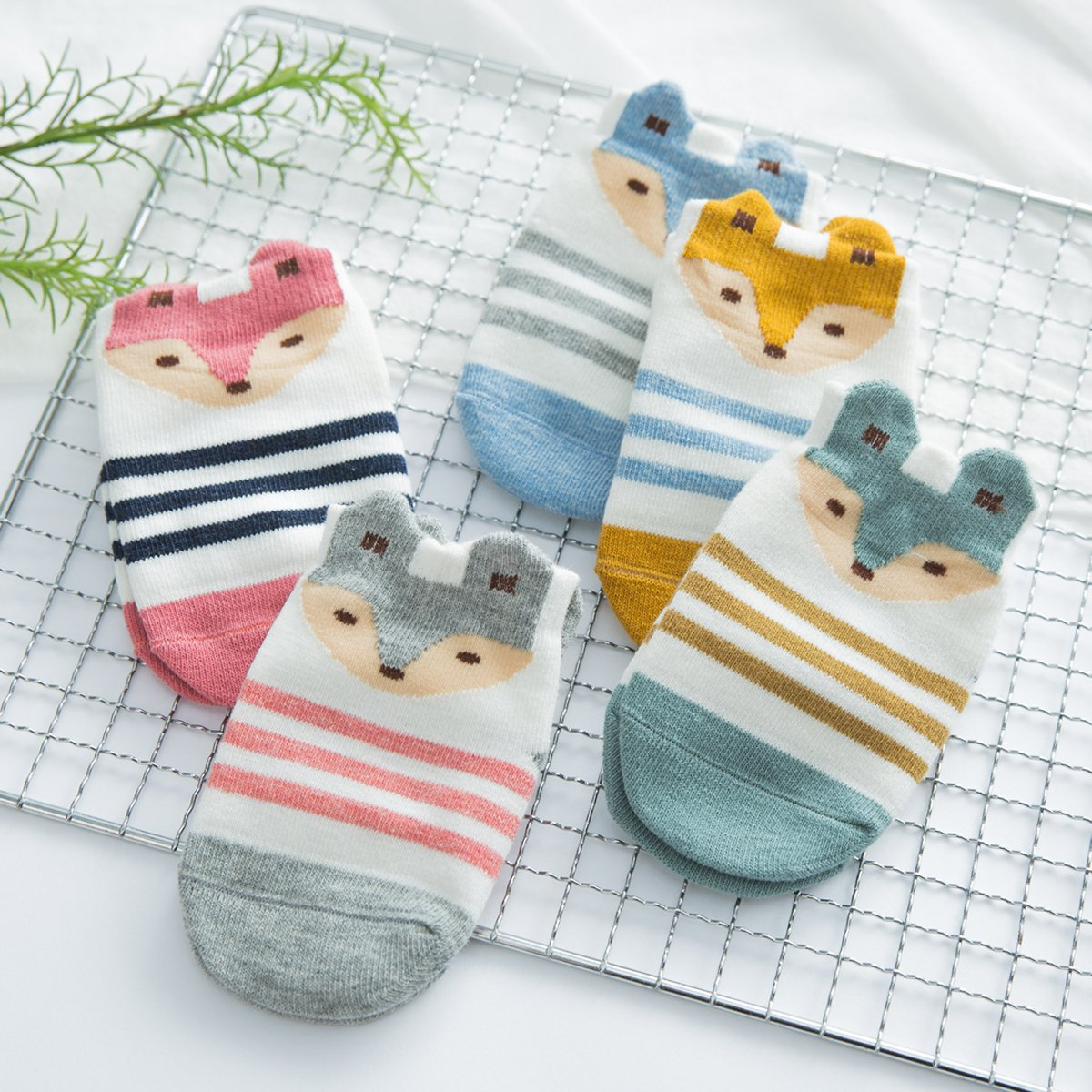 Fairy 5 Pairs Cartoon Cute Animals Fox Non Skid Cotton Baby Socks Stripes Socks (12 - 24 Months) by Fairy Socks (Image #5)
