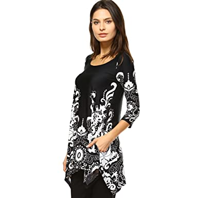 ac5aae8d682 White Mark Women s Yanette Paisley Floral Print Tunic Top S Black   White