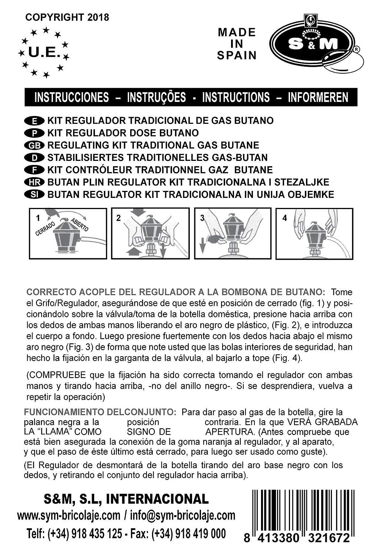 S&M Regulador Doméstico Bombona Gas Butano, Gris, 24 x 17 x 7 cm: Amazon.es: Hogar