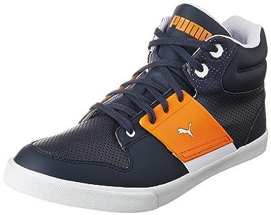 Puma Unisex El Ace 2 Mid PN II DP New Navy and Sun Orange Sneakers -