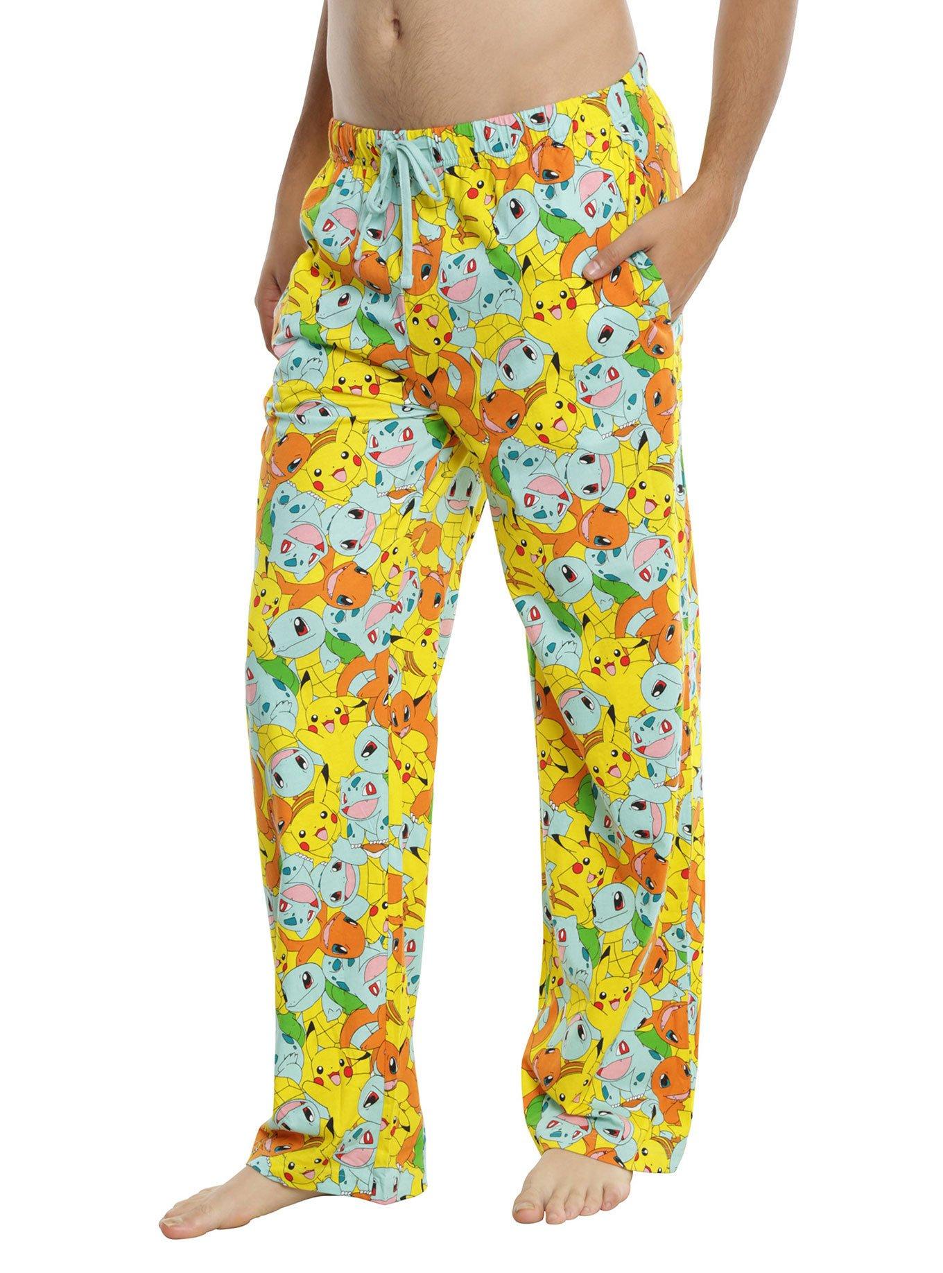 Underboss Unisex Mens Womens Pokemon Printed Yellow Lounge Pajama Pants with Elastic Drawstring Waist Small