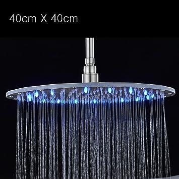 Duschen Wasserhahn Duschkopf Hochdruck Ultrad/ünne LED Kopfbrause Badezimmer Temperatursensor Quadratische Handbrause