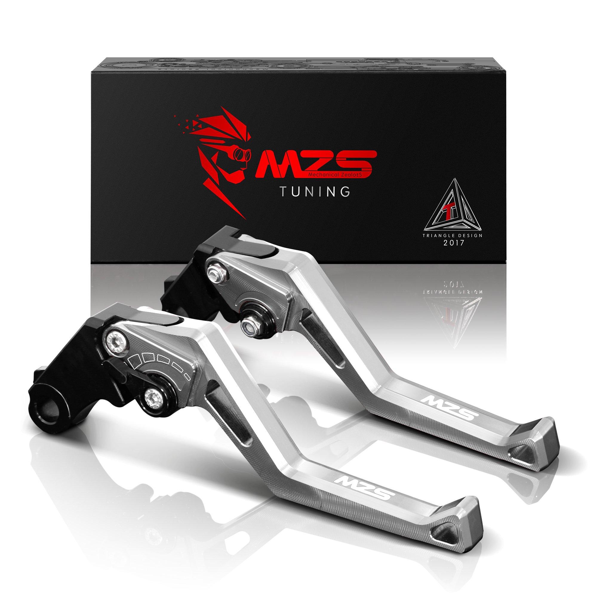 MZS Short Levers Adjustment Brake Clutch CNC for Yamaha YZF R6 YZF-R6 2005-2016/ YZF R1 YZF-R1 2004-2008 Silver by MZS