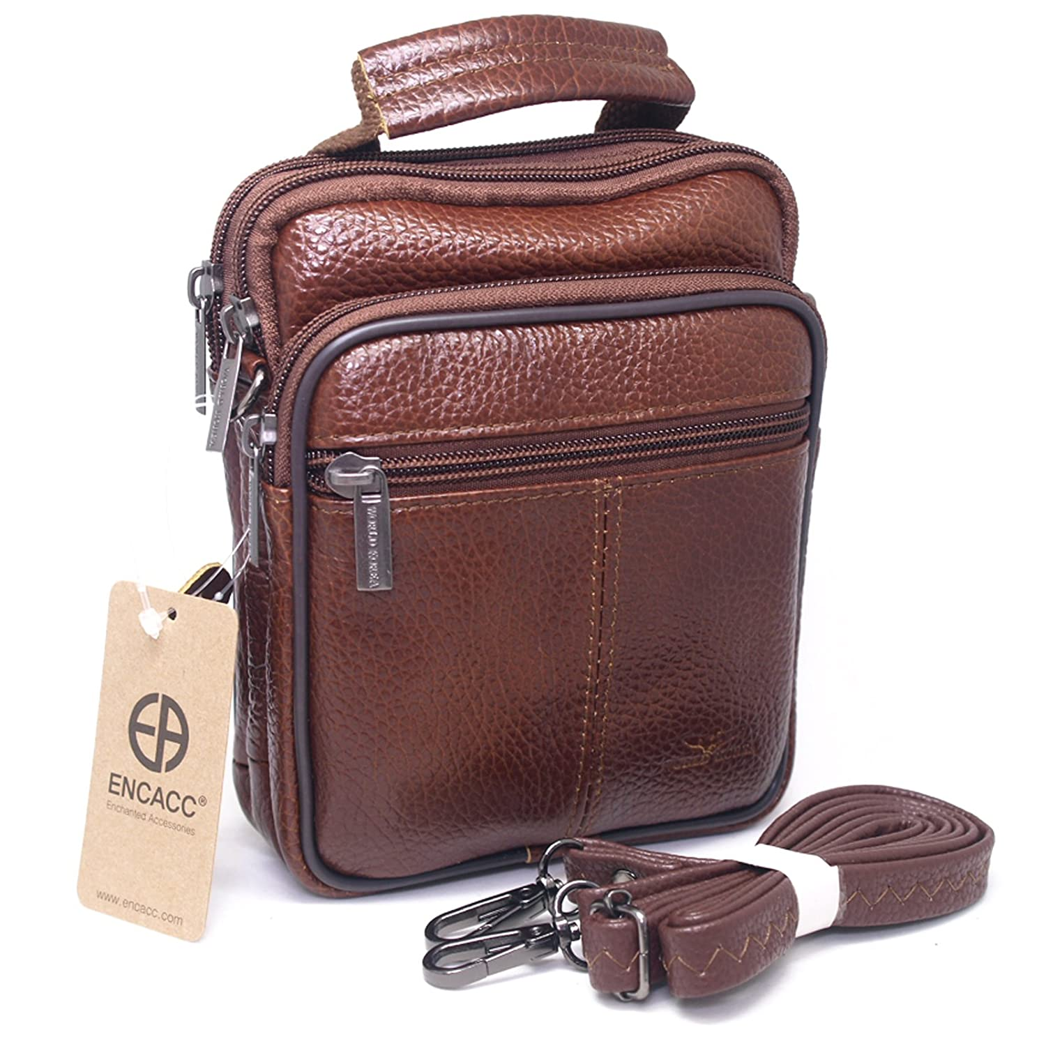 1533557fdfe3 Amazon.com  Mens Waist Pack Small Messenger Bags Tactical Mobile Phone Pouch  Leather Travel Bags Cases Holsters (Brown WK32EN)  Cell Phones   Accessories