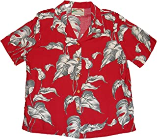 product image for Paradise Found Women's Palm Tree Leaf Aloha Shirt, Red, M