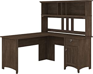 Bush Furniture Salinas L Shaped Desk with Hutch, 60W, Ash Brown