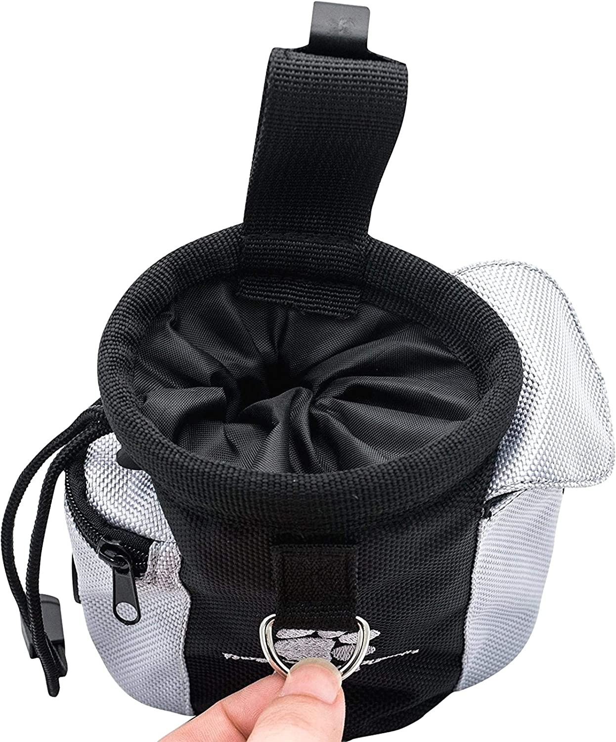 DULALA Dog Treat Small Sachet Pet Training Bag Puppy Walking Pouch with Poop Waste Bag Dispenser Pocket Mouth Adjustable With Waist Clip for pet stuff Bag Dog Treat Pouch Bag
