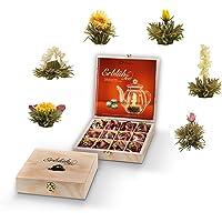 Creano thee bloemen cadeauset in houten theekist, 12 blooming tea in 6 soorten witte thee