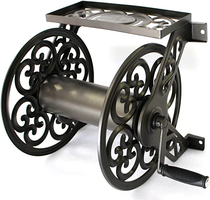 Liberty Garden Products 708 Steel Decorative Wall Mount Garden Hose Reel - Top Storage Shelf