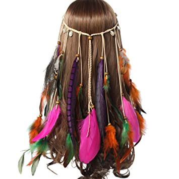 a3674455b6528d AWAYTR Jahrgang Feder Stirnband Indisch Kopfschmuck Boho Hippie Perlen  Maskerade Schick Kleid Haar Zubehör Zum Frau