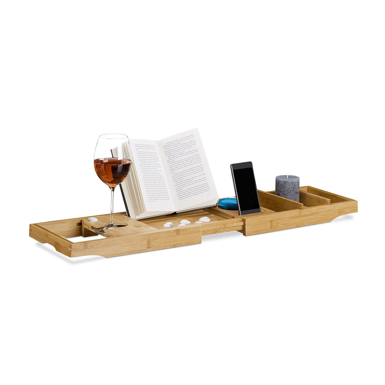 Relaxdays Pont de baignoire extensible en bambou tablette de bain porte-verre plateau ré glable, nature 10021570