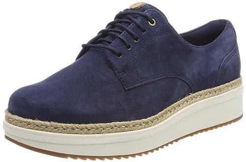 Clarks Teadale Rhea, Zapatos de Cordones Brogue Para Mujer, Azul (Navy Suede), 42 EU