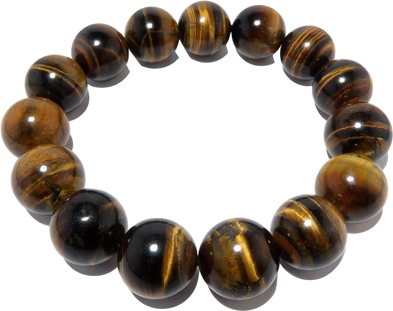SatinCrystals Tigers Eye Golden Bracelet 13mm Iridescent Brown Shiny Round Handmade Stretch Chunky Natural Gemstone Confidence Jewelry B02