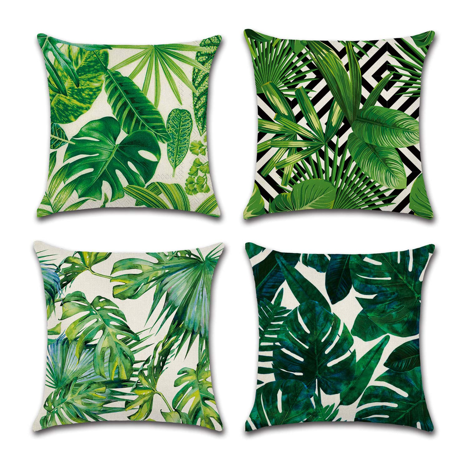 Buy Yoursee Tropical Leaves Party Decorations Set Of 4 Decorative Throw Pillow Covers 18 X 18 With Tropical Palm Monstera Leaves Print For Summer Green Decor For Sofa Couch And Patio Online