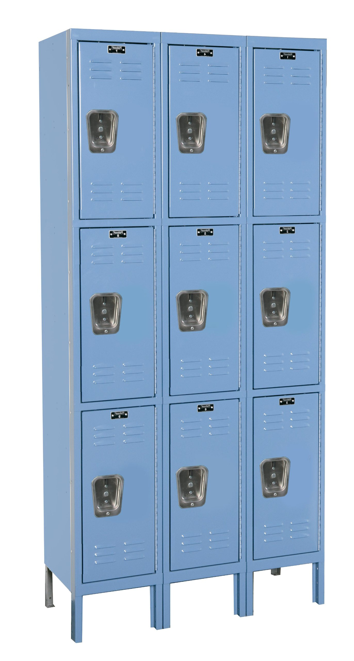 Hallowell U3288-3A-MB Premium Locker, 36'' Width x 18'' Depth x 78'' Height, Triple Tier, 3-Wide, Assembled, 707 Marine Blue
