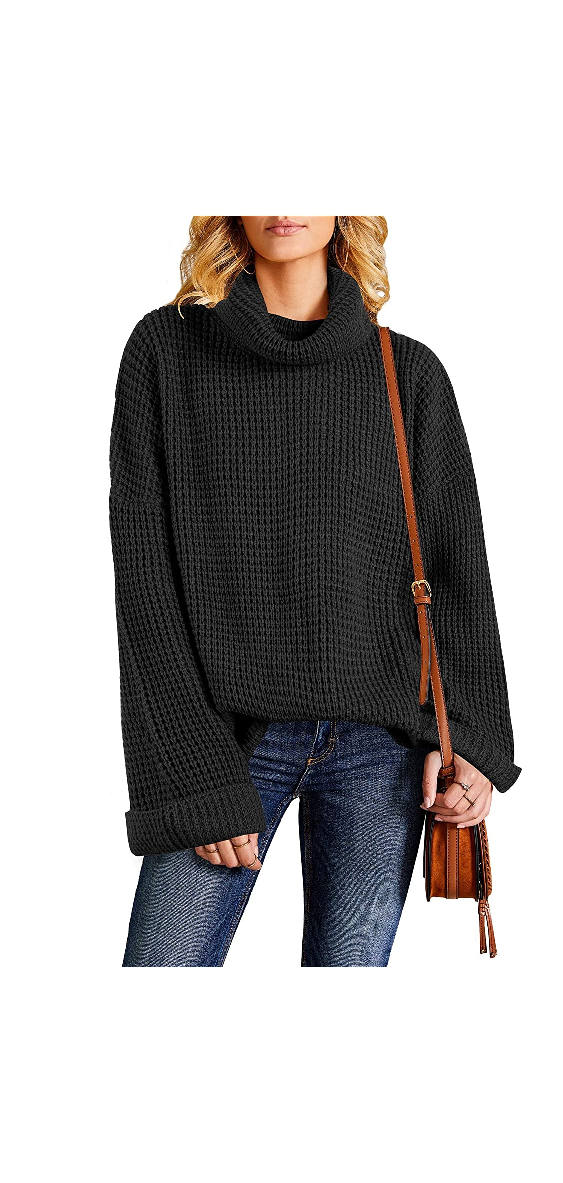 Womens Turtleneck Oversized Pullover Sweaters Casual