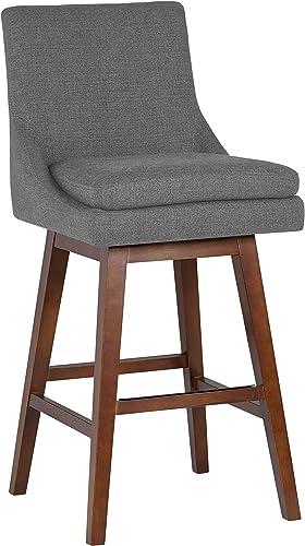 Stone Beam Alaina Contemporary High-Back Swivel Seat Counter Stool, 39 H, Grey