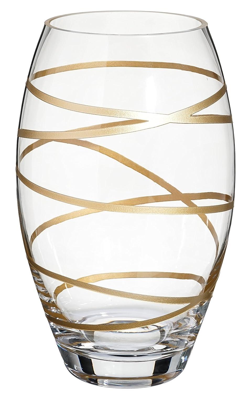 /Vaso decorativo centrotavola/ 24/cm /24,1/cm /decorato con sabbiato e verniciato sottilmente Golden Stripes/ Anna Exclusive Decor senza piombo vetro soffiato Barrel vaso in vetro/