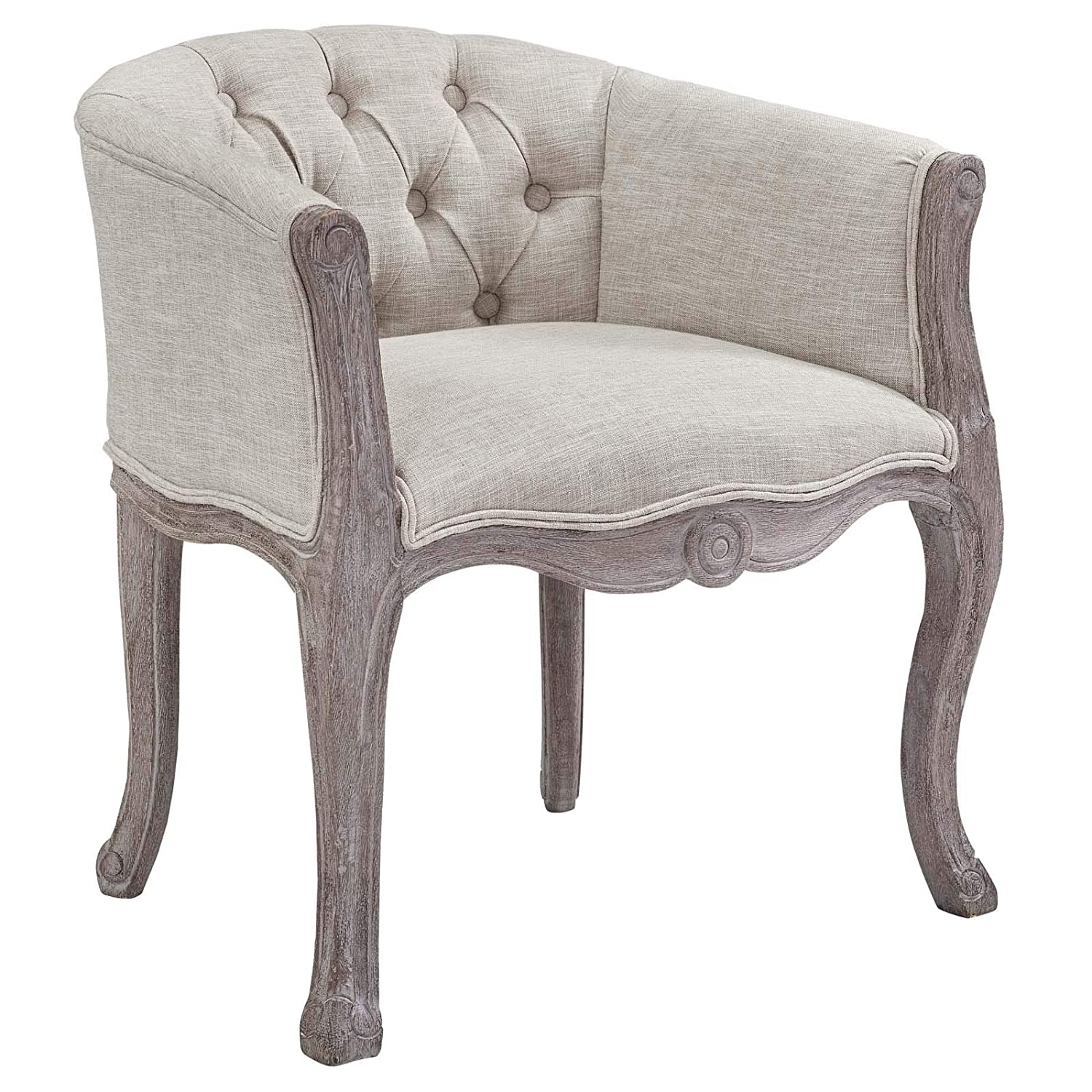 Modway Crown French Vintage Barrel Back Tufted Upholstered Fabric Four Kitchen and Dining Room Arm Chairs in Beige – Fully Assembled