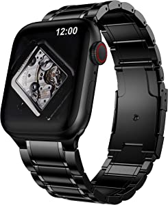 BaiHui Metal Bands Compatible with Apple Watch Band 44mm 42mm ,Solid Stainless Steel Band Business Replacement Strap Compatible for Apple Watch Series 6/5/4/3/2/SE - Black