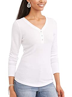 82d2d23e45 Time and Tru Women's Long Sleeve Thermal Henley at Amazon Women's ...