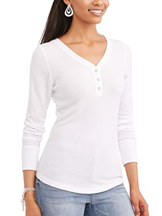 d15b883c441 Time and Tru Women s Long Sleeve Thermal Henley at Amazon Women s Clothing  store