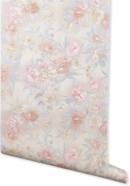Luminous Pink Blue Metallic Floral Wallpaper For Walls Double