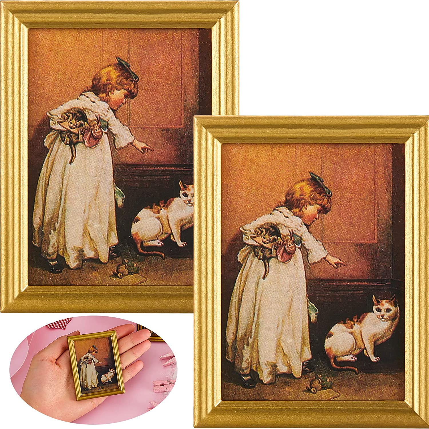 Skylety 2 Pieces Dollhouse Decoration Accessories 1:12 Dollhouse Miniature Painted Wooden Frame Mural Accessories Golden Plastic Frame Girl and Cat Oil Painting Miniature Dollhouse Furniture