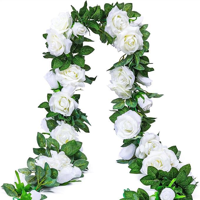 Best Artificial 7ft Baby Pink Silk Rose Ivy Garland Wedding Bud String Flower