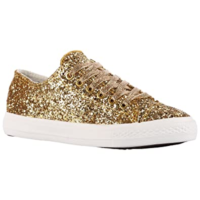 LADIES WOMENS TRENDY GOLD GLITTER TRAINERS SNEAKERS SHOES SIZE UK 4 or 6
