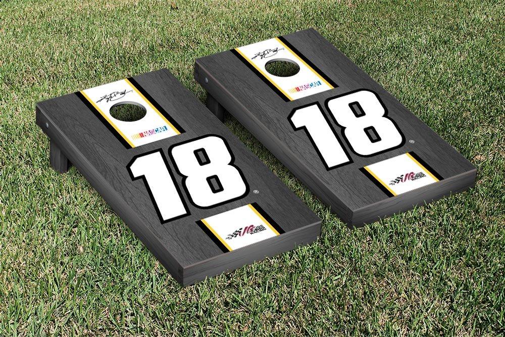 NASCAR Kyle Busch # 18 Cornhole Game SetオニキスStainedストライプバージョン B00P87LV1C