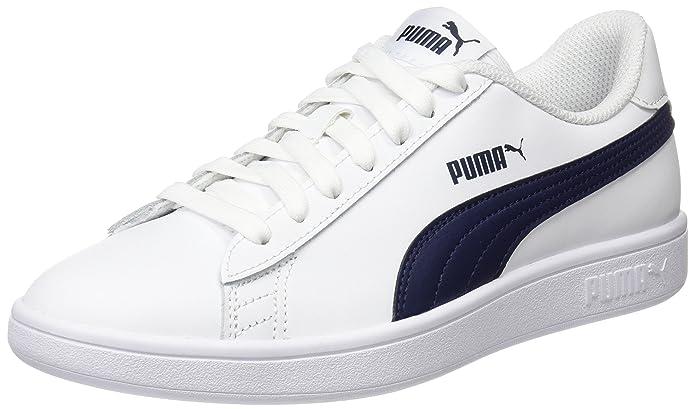 Puma Smash V2 L Sneaker Damen Herren Unisex Weiß mit blauen Streifen