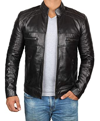 03a28a3b56d Brown Leather Jacket Mens - Cafe Racer Real Lambskin Leather ...