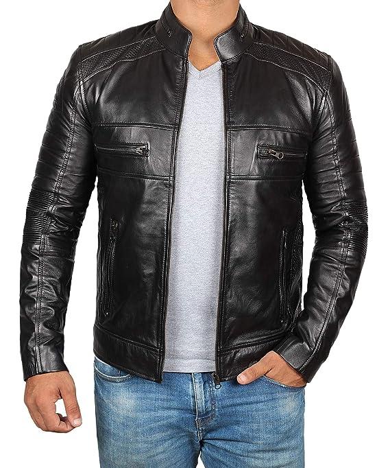 Amazon.com: Chaqueta de piel marrón para hombre, de cordero ...
