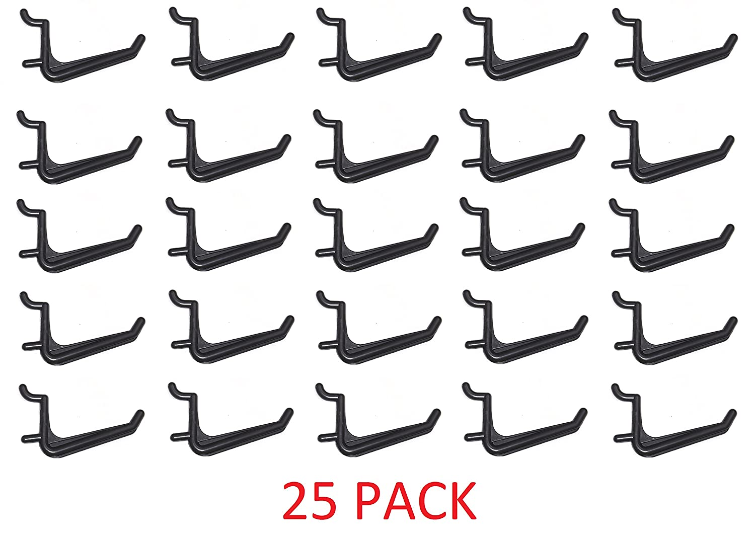 25 Pack Of JUMBO Pegboard Hooks Black Garage Tools Hammer Air Tool Storage Organization Jewelry JSP Manufacturing