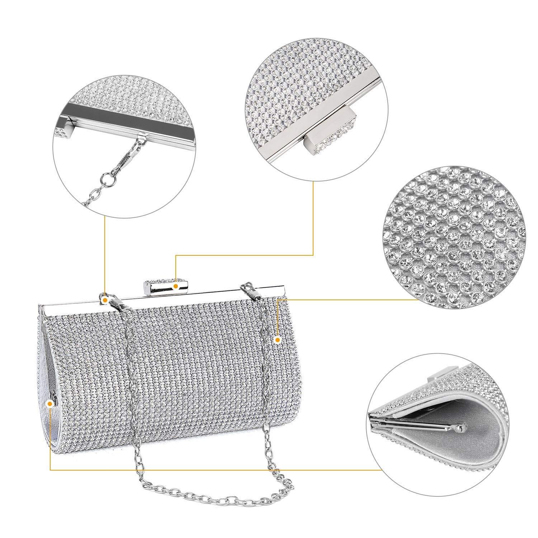 BAIGIO Silver Clutch Bag for Party Prom Dinner Bridal Wedding,Evening Handbag Clutch Purse for Womens Ladies Girls Students