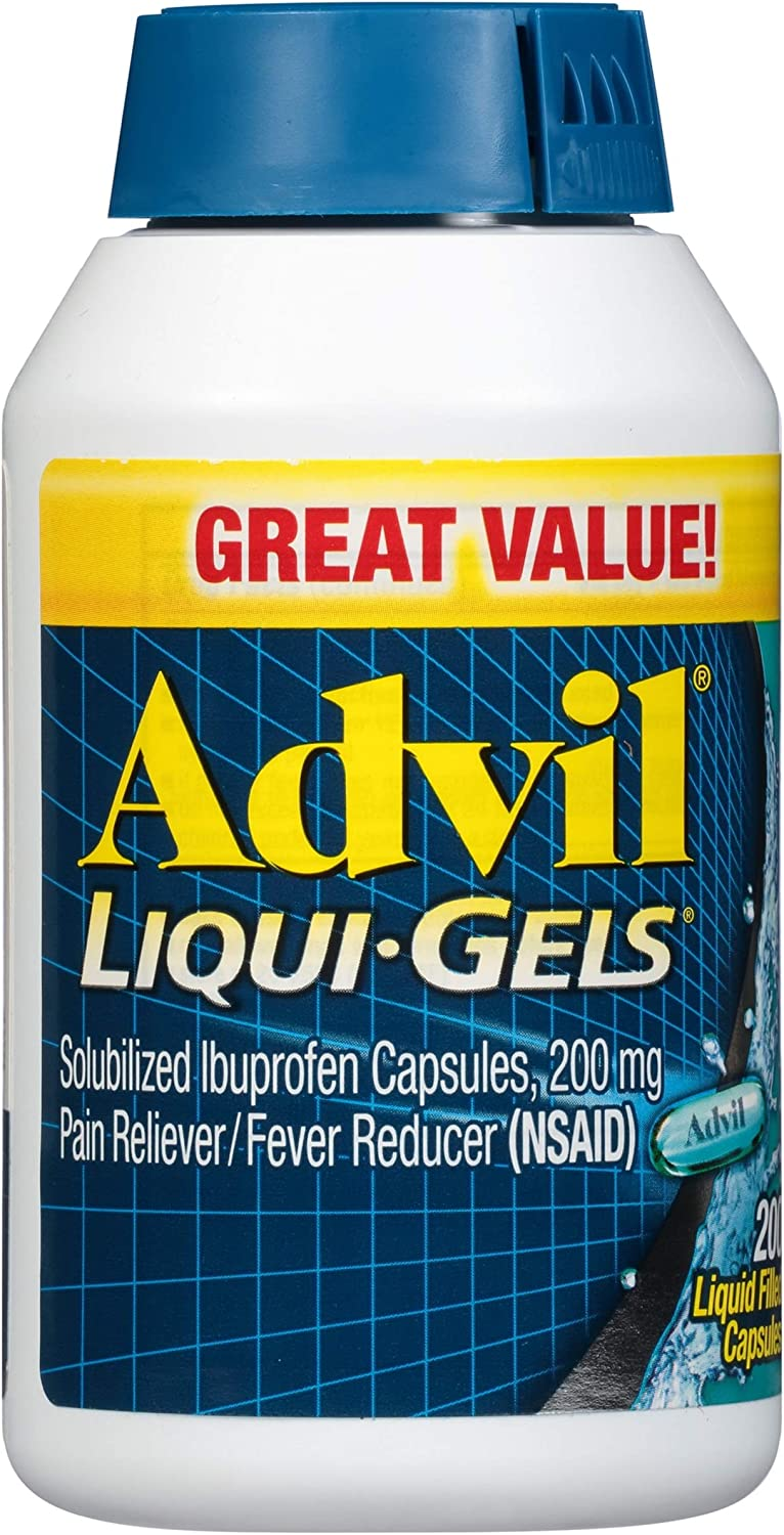Advil Liqui-Gels Pain Reliever and Fever Reducer, Solubilized Ibuprofen 200mg, 200 Count, Liquid Fast Pain Relief: Health & Personal Care