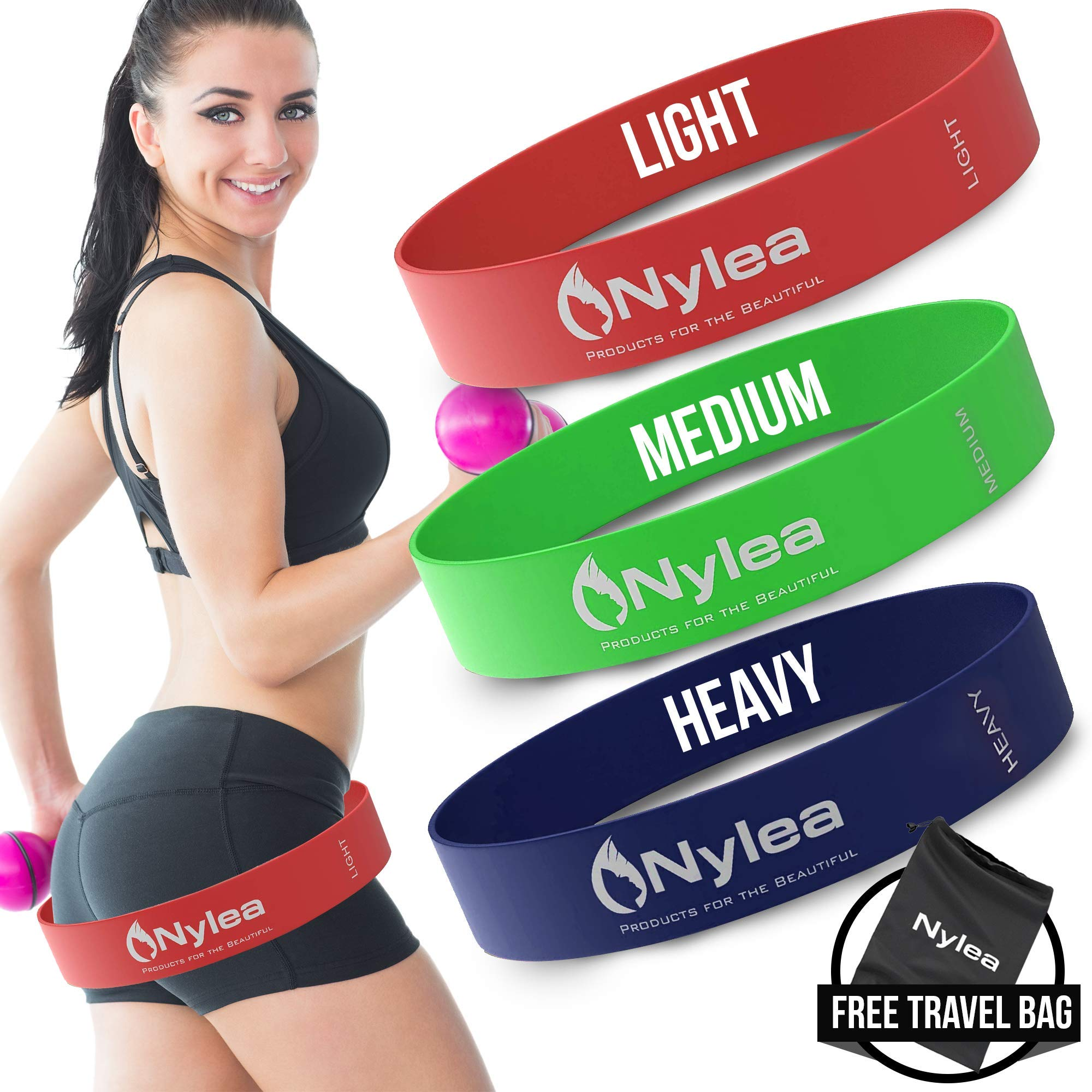 Nylea 3 Pack Resistance Exercise Workout Bands [Free Travel Bag] 12″ Latex – Best for Training, Pilates, kPowerlifting, Stretching, Physical Therapy, Yoga, Rehab and Home Fitness