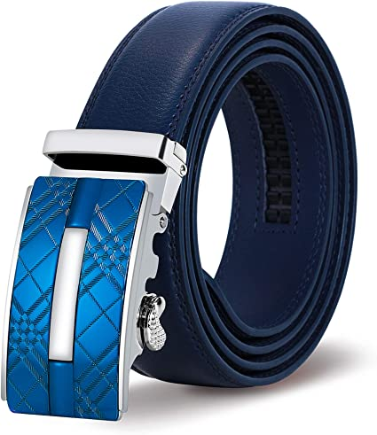 ITIEZY Leather Ratchet Dress Belt for Men Colorful Click Belt with Automatic Buckle in Gift Box